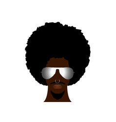 retro man in 1970s hairstyle frizzy afro man vector image