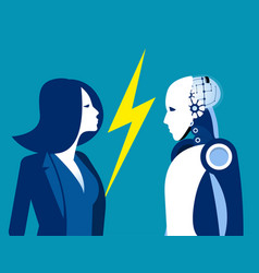 robot vs human humanity and technology concept vector image