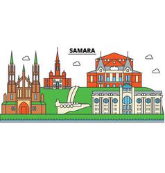 Russia samara city skyline architecture vector