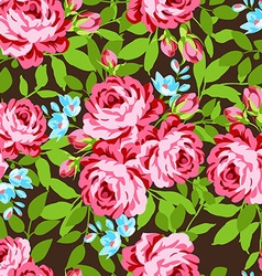 Seamless floral pattern with garden pink roses vector