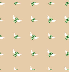 Seamless pattern of flying paper money vector