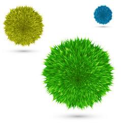 Set color fluffy ball on white vector