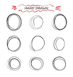 set hand drawn doodle spiral line swirl vector image