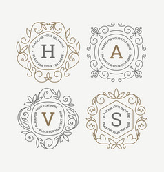 set monogram logo template with flourishes vector image