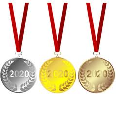 set of 2020 metals vector image