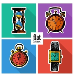 Set of sketch hand drawn clocks flat icons vector