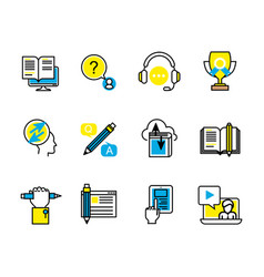 Set of study and support icons vector