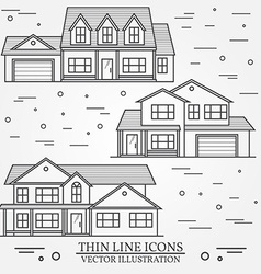 Set of thin line icon suburban american houses For vector image