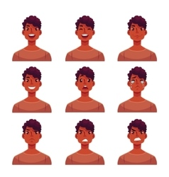 Set of young african man face expression avatars vector image