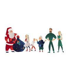 sketch santa claus presents to family vector image