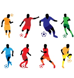Soccer silhouette color2 vector