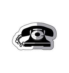 Sticker black silhouette old phone design with vector