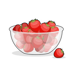 Strawberries in glass bowl berries in deep dish vector
