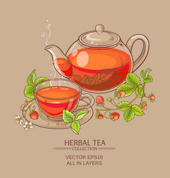 Strawberry tea vector
