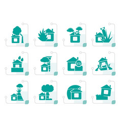 stylized home and house insurance and risk icons vector image