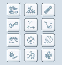 Summer fitness icons - tech series vector