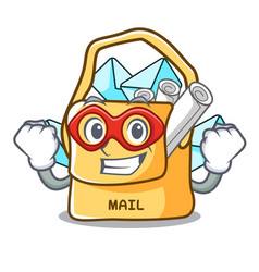 Super hero the bag with shape mail cartoon vector