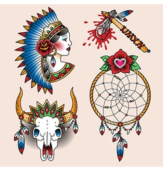 tattoo indian set vector image