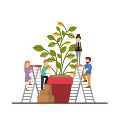 Teamwork mini people doing house plant vector