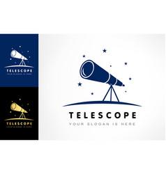 Telescope night sky and stars logo vector