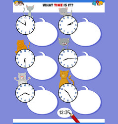 Telling time educational task with cats characters vector