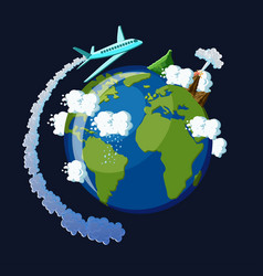 travel around the world concept airplane with vector image