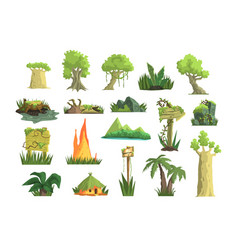 Tropical jungle landscape set design elements for vector