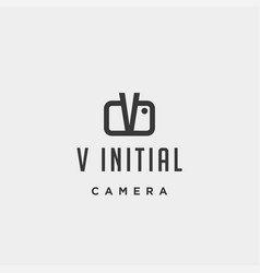 V initial photography logo template design vector