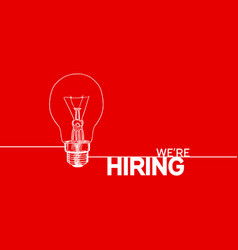 We are hiring simple design white outline light vector
