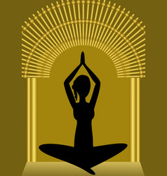 Yoga training woman silhouette in golden gate vector