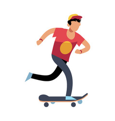 Young man on skateboard young character skater vector