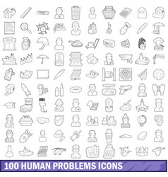 100 human problems icons set outline style vector image vector image