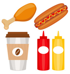 colorful fast food icon set poster vector image vector image