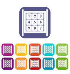 Cubes with numbers on playground icons set vector