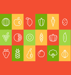fruits and vegetables icons set food signs line vector image