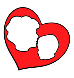 mother and child inside heart icon icon cartoon vector image vector image