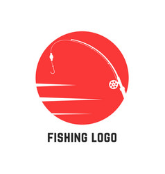 simple red fishing logo vector image