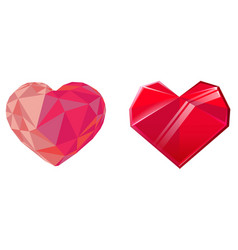 two red crystal hearts isolated on white vector image