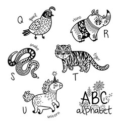 animals alphabet q - u for children vector image