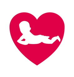 child in the middle of a heart vector image vector image