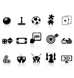 fun game icons set vector image vector image