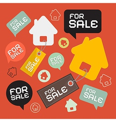 House For Sale Retro Paper Icons Set vector image