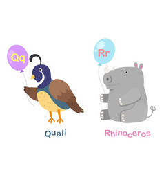 Isolated alphabet letter q-quailr-rhinoceros vector
