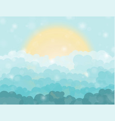 Cartoon blue shining cloudy sky with sun vector