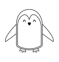 cute line icon penguin cartoon vector image