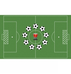 Football field with playing balls vector image