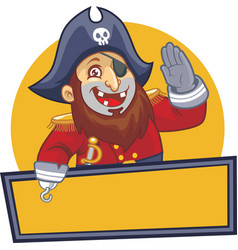Pirate salute with blank sign vector image