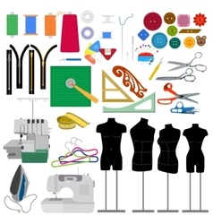 Set of flat sewing elements vector image