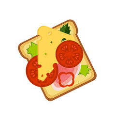toast with cheese ham and vegetables street fast vector image vector image