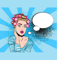 woman in shocked emotion pop art style vector image